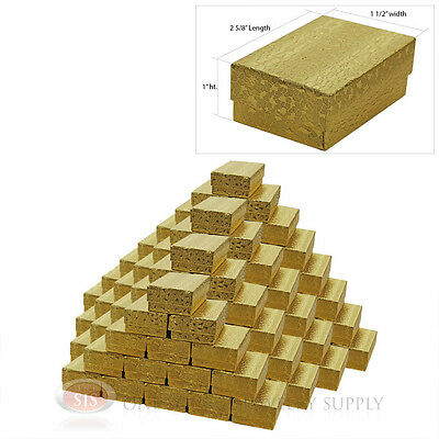 100 Gold Foil Cotton Filled Jewelry Gift Boxes 2 58 X 1 12 X 1 Charm Ring