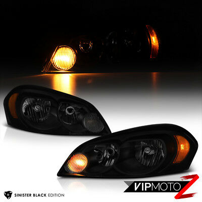 """2006-2013 Chevrolet Impala """"SINISTER BLACK"""" Front Headlights Lamps LEFT+RIGHT"""