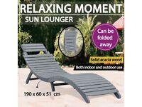 Sun Lounger Grey Wash Solid Acacia Wood-45959