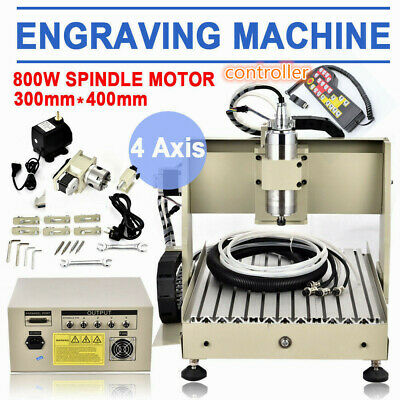 3040 4 Axis Cnc Router Engraver Milling Machine Cutting 800w Vfd Controler 110v
