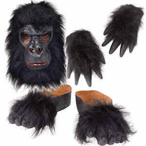 Gorilla-Mask-Hands-Feet-Kit-Ape-Monkey-Fancy-Dress-King-Kong-Costume