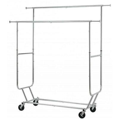 Heavy Duty Clothing Commercial Garment Rolling Collapsible Double Shelf Us
