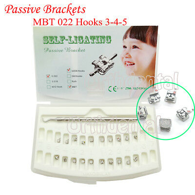 Dental Orthodontic Passive Self-ligating Brackets Mbt 0.022 Hook 345 With Tool