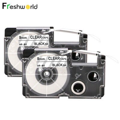 2pack Xr-9x Compatible For Casio Tape 9mm Black On Clear Label Xr-9x1 Ez-serial