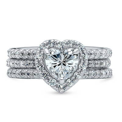 BERRICLE Sterling Silver Heart Shaped CZ Halo Engagement Wed