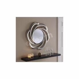 1 x Silver Circular Petal Mirror by Yearn Glass
