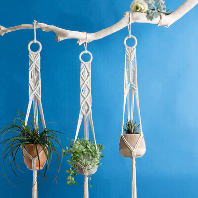 3Pcs Macrame Plant Hangers Indoor Wall Hanging Planter Basket Flower Pot Holder