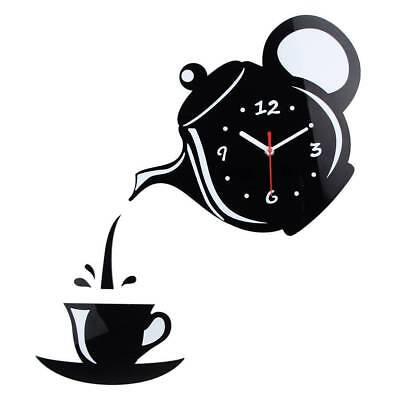 3D Wall Decorations DIY Wall Sticker Creative Coffee Cup Teapot Clock Decal Home