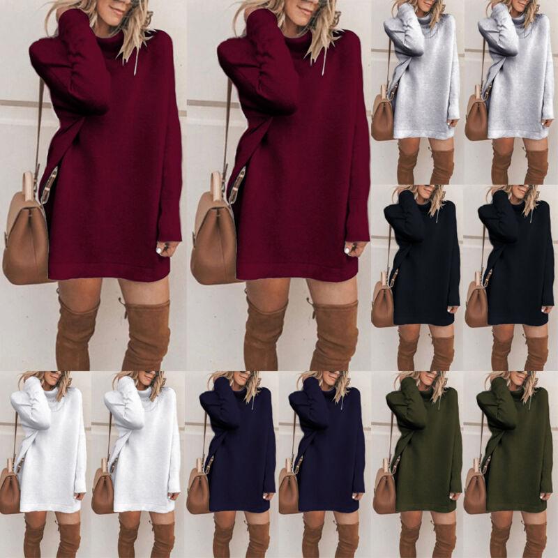Womens Winter Turtleneck Casual Long Sleeve Loose Bottom Knit Sweater Mini Dress