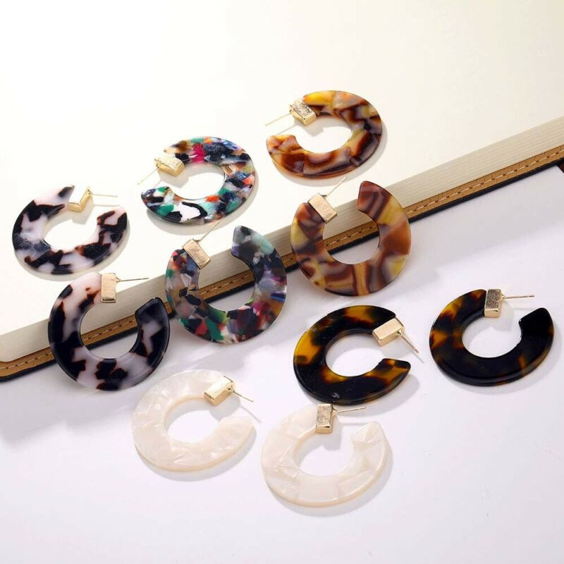Trendy Studs earrings resin acetate Retro semi-circular earr