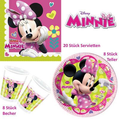 Servietten Pappteller Becher Einweggeschirr Tischgeschirr (Minnie Mouse Servietten)
