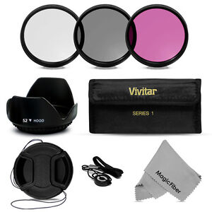 52MM Vivitar UV CPL FLD Filter Kit + Lens Hood for Nikon D3100 D3200 D5200 D7100