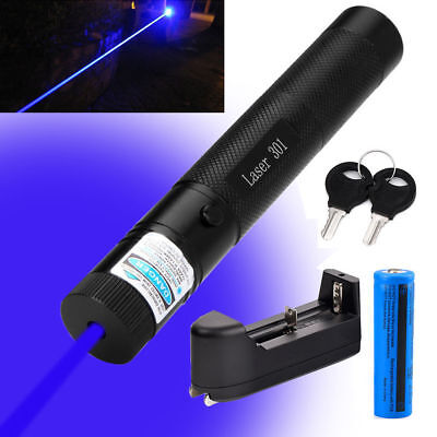 Military Blue-Purple Beam Laser Pointer 405nm Lazer Pen +18650 Battery + Charger