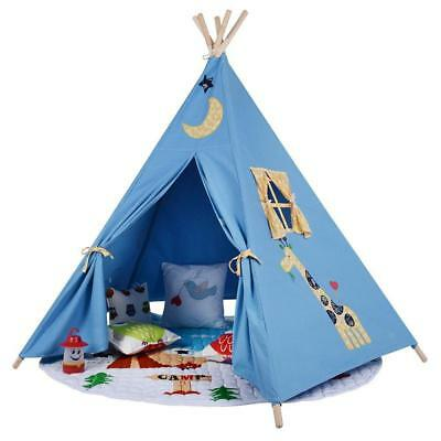 Children's Blue Kids Teepee. Play tent, Playhouse, wigwam Tipi Tepee. UK STOCK