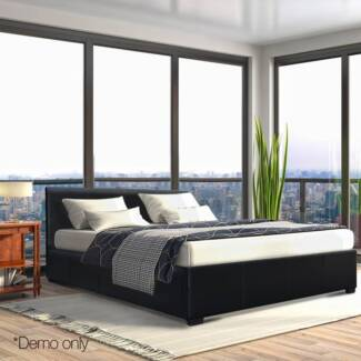 PU Leather Gas Lift Bedframe Double White or Black