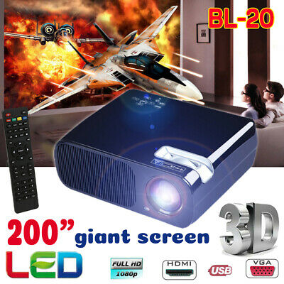 "Full HD 1080P LED 3D LCD VGA HDMI TV Home Theater Projector Cinema 200"" Screen"