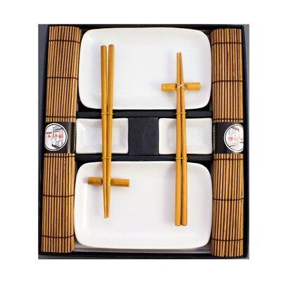 Weißes Sushi Set Geschirr Service - 10 teilig für 2 Personen - Teller NEU braun