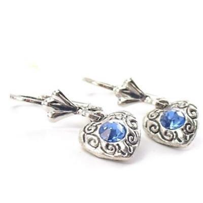 Trachtenschmuck Brisur Ohrringe Ohrhänger Herz 3D blau Kristall antikstil M33 (Antik Trachten Schmuck Ringe)