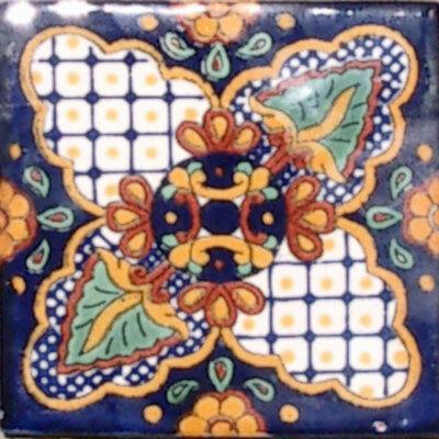 C#087)) MEXICAN TILE SAMPLE WALL FLOOR TALAVERA MEXICO CERAMIC HANDMADE (Mexican Talavera Ceramic Tile)