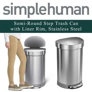 1c611dce02a NEW simplehuman CW2030 Semi-Round Step Trash Can with Liner Rim
