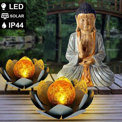 3er Decoración Set Buda Figura Madera Óptica 2x Solar LED Lotos Flor...