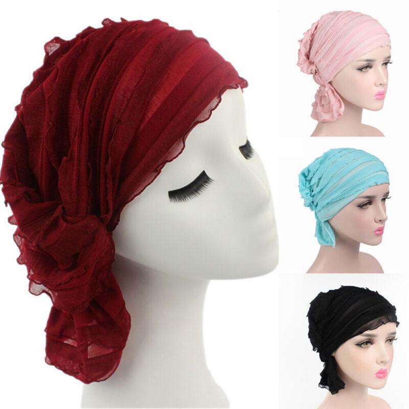 Headwear Ruffle Turban Head Wrap Beanie Cap Chiffon Scarf Ca