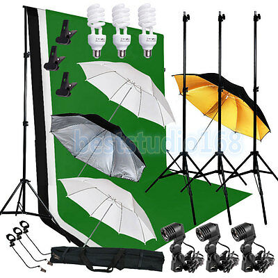 Photo Video Studio Lighting Photography 3 Backdrops Stand Muslin Photo Light Kit