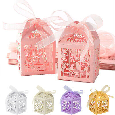 25/50/100 Hollow Favor Ribbon Gift Box Laser Cut Candy Boxes Wedding Party