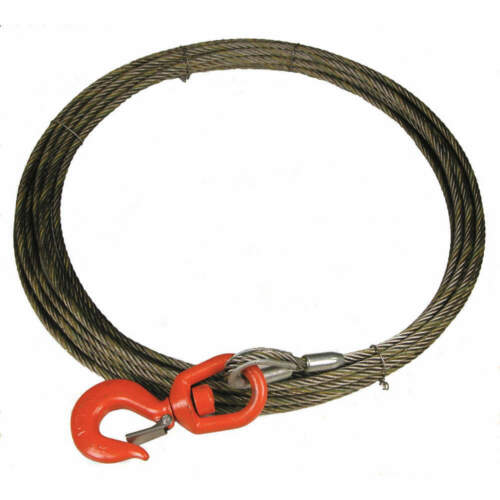 LIFT-ALL 38WSX100 Carbon Steel Wire100 ft., Bright Winch Cable with 4800 lb cap