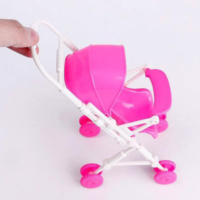 Assembly Baby Buggy Stroller Dollhouse Nursery Furniture Toy For Barbie Doll Kit