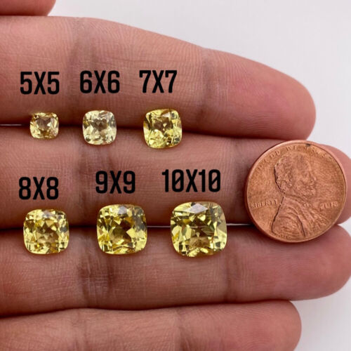 Synthetic Yellow Sapphire Cushion Cut AAA Quality Gemstone in 5MM - 10MM