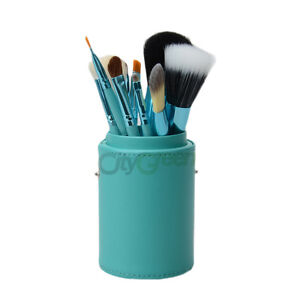 New Pro 12 Pcs Makeup Brush Set Kit with Leather Cup Holder Case 4 Colors C-92