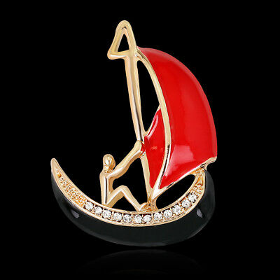 Sailing Boat Rhinestone Crystal Gold Plated Alloy Sport Pin and Brooch