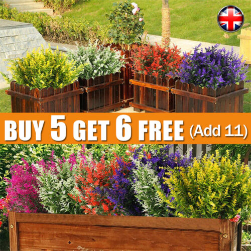Home Decoration - Artificial Flowers Plastic Fake Plants UV Resistant In/Outdoor Home Garden Decor