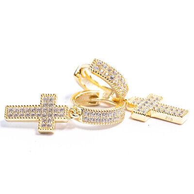 14K Gold Sterling Silver Cross Dangle Drop Hanging Iced Mens  Hoop -