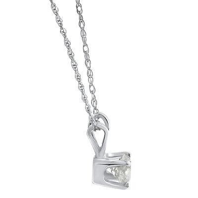 1/3ct Round Solitaire 14k White Gold Diamond Pendant