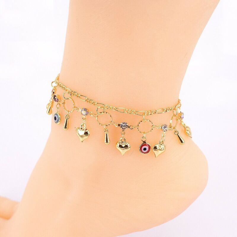 """18k Layered Real Gold Filled Anklet Bracelet With Hearts 10"""" Colors stones"""