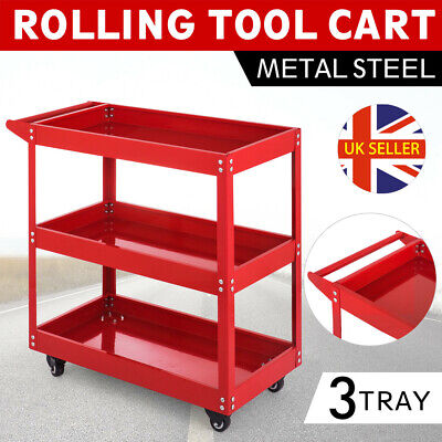 Workshop Garage Tool Storage Trolley Wheel Cart 3 Tier Tray Shelf Heavy Duty UK