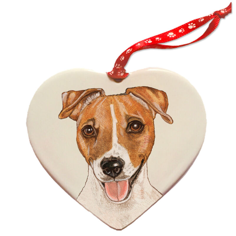 Jack Russell Terrier Porcelain Heart Ornament
