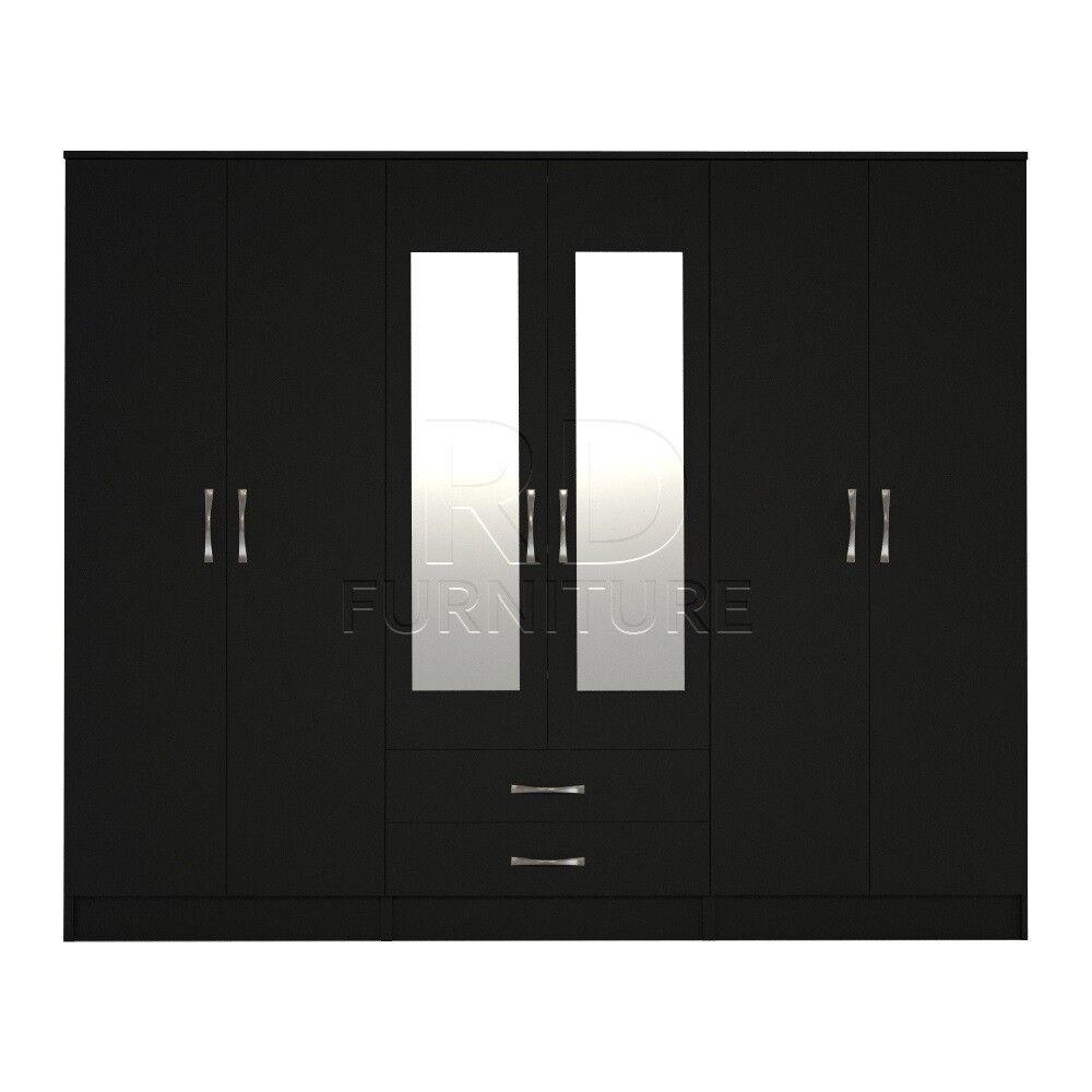 classy wardrobe 4 you, 2,28m wide 6 door black wardrobe