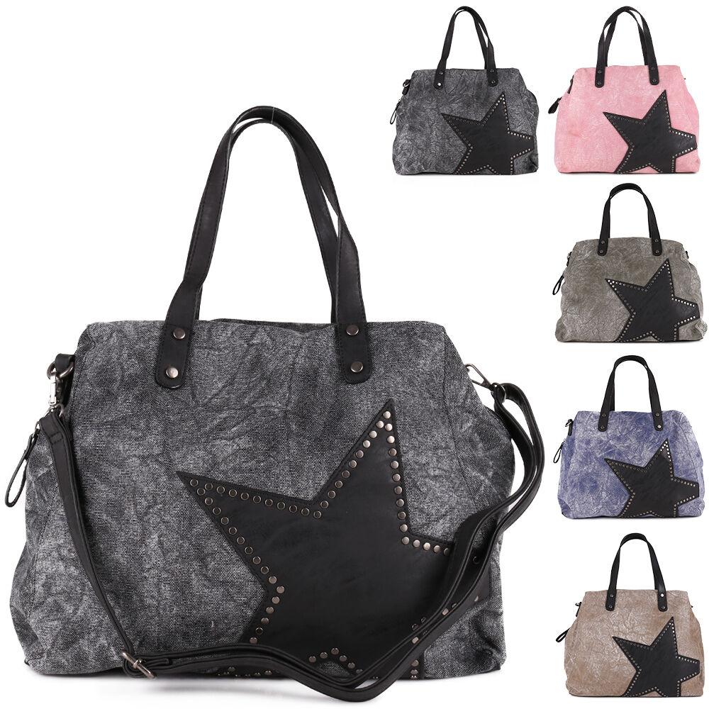 0570d1209448d Trend Stern Star Canvas Stoff Umhänge Schulter Tasche Vintage Nieten Shopper  NEU