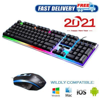KIT COMPLETO TASTIERA MOUSE USB LED GAMING KEYBOARD RGB Retroilluminata PER PC