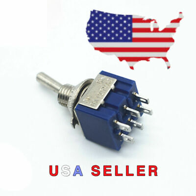 1 2 Position Dpdt Mini Toggle Switch On On 6 Pins Lug 125v Ac 6a Usa Seller