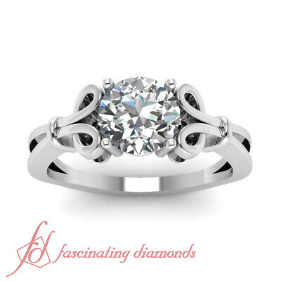 Solitaire Bow Pattern Engagement Ring 1 CARAT Round Cut Diamond GIA Certified 1