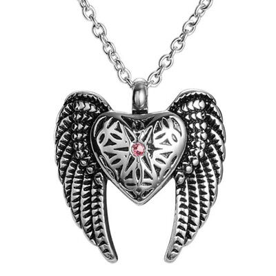 Angel Heart & Wings Cremation Jewelry Ashes Keepsake Memorial Urn Necklace NEW