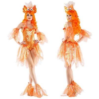 Goldfish Halloween Costume (Sexy Bling Mermaid Goldfish Princess Costume Halloween Adult Fancy Dress)