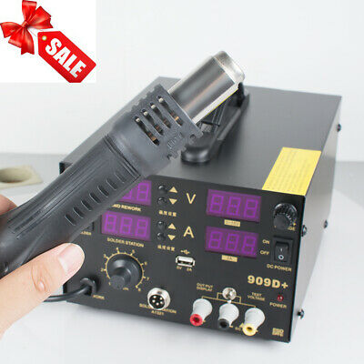Soldering Station Hot Air Gun 4in1 Rework Solder Desoldering Station Machine Us