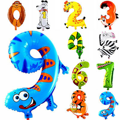 10Pcs Animal Number Foil Inflatable Balloons Wedding Happy Birthday Air - Inflatable Numbers Birthday