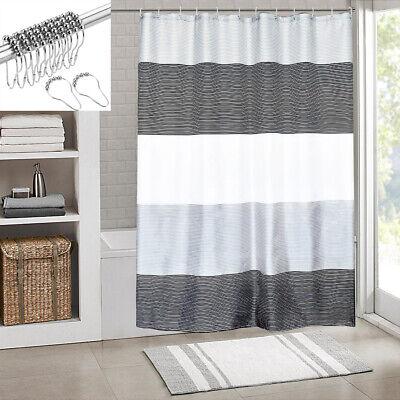 Bathroom Mens Shower Curtain Stripes Sets Rings,Black White Grey,72x72 Inch  ()