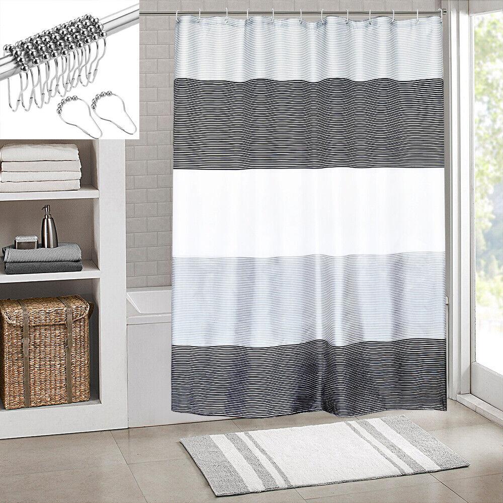 Bathroom Mens Shower Curtain Stripes Sets Rings Black White